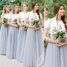 SuperKimJo Robe Demoiselle Dhonneur Lace Bridesmaid Dresses Long 2019 Short Sleeve Silver Gray Wedding Party Dress