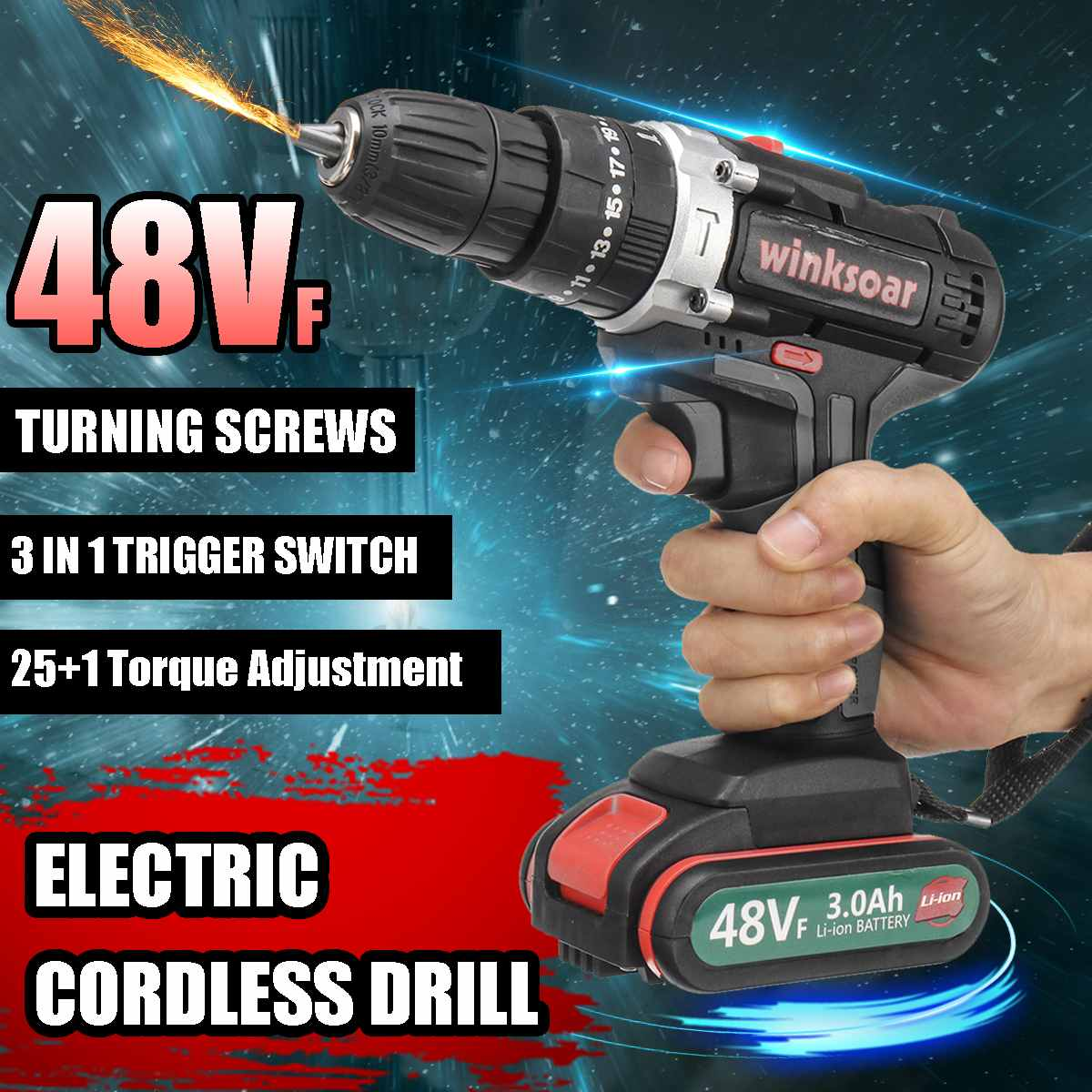 48VF 2-speed Cordless Electric Screwdriver Impact Drill 25+1 Torque Rechargeable 2xLI-ION Battery Electric Drill Power Tools