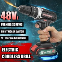 48VF 2 speed Cordless Electric Screwdriver Impact Drill 25+1 Torque Rechargeable 2xLI ION Battery Electric Drill Power Tools