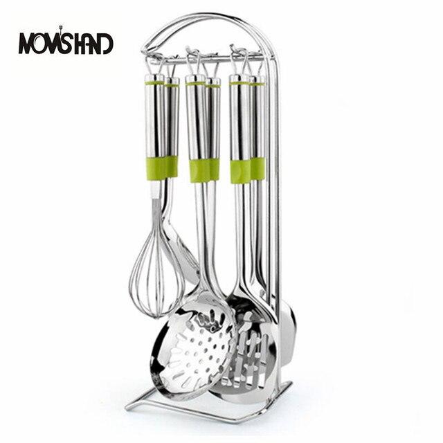 MOMu0027S HAND 7Pcs/set Kitchen Utensil Set Green Handle Stainless Steel Whisk  Spoon Turner Cooking