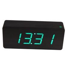 Новый современный деревянный черный светодиодный цифровой будильник Зеленый светодиод Дерево Framework настольные часы электронные настольные часы