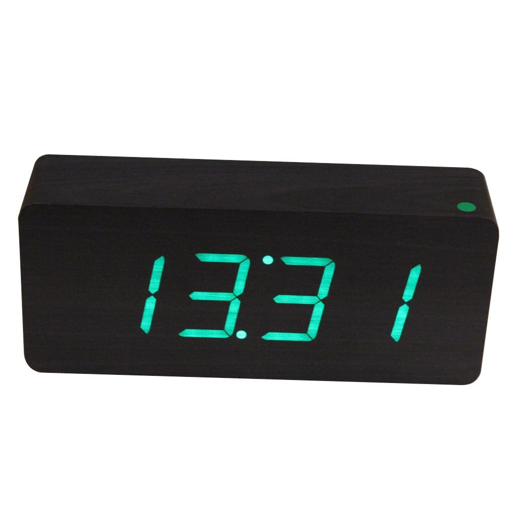 New Modern Wooden Black LED Digital Alarm Clock Green LED Wood Framework Desktop Clock Electronic table clocks