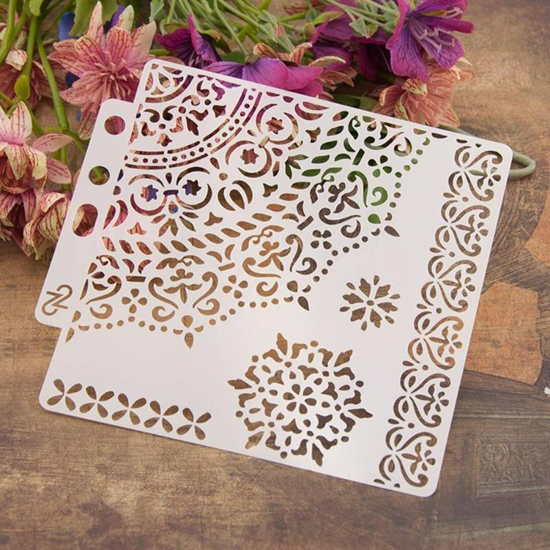 Flowers Coffee Stencils Cake Baking Templates DIY Scrapbooking Craft Decor