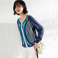 Шелка с принтом трикотажный пуловер Свободный свитер женские свитера Harajuku шерпа sueter свитер с бахромой корейский топ fashionnova
