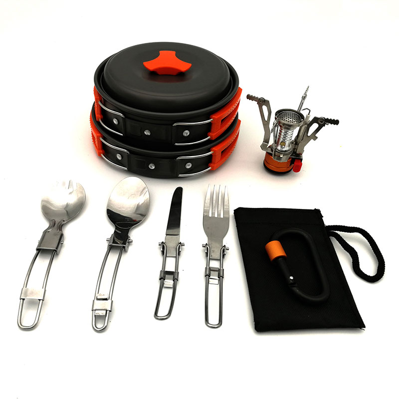 VILEAD Outdoor Portable Camping Hiking Fishing Non stick Pan Set Pot Mini Gas Stove 1 2 People Walking Pot with Tableware