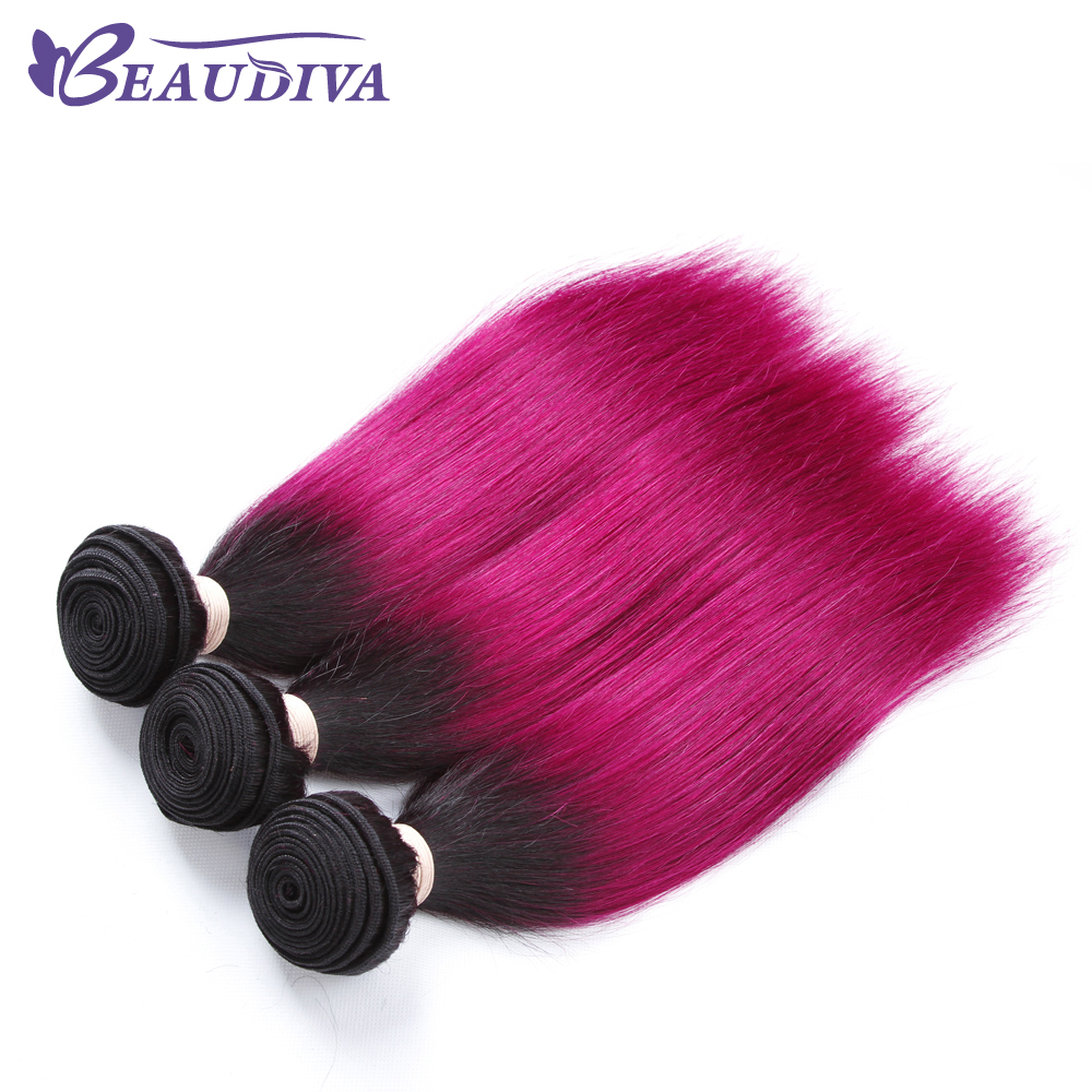 BeauDiva Pre-Colored Hair Weave Straight Human Hair Bundles ONE Piece 8-24 T1B-118 Peruvian Hair Extensions Remy Hair Bundle