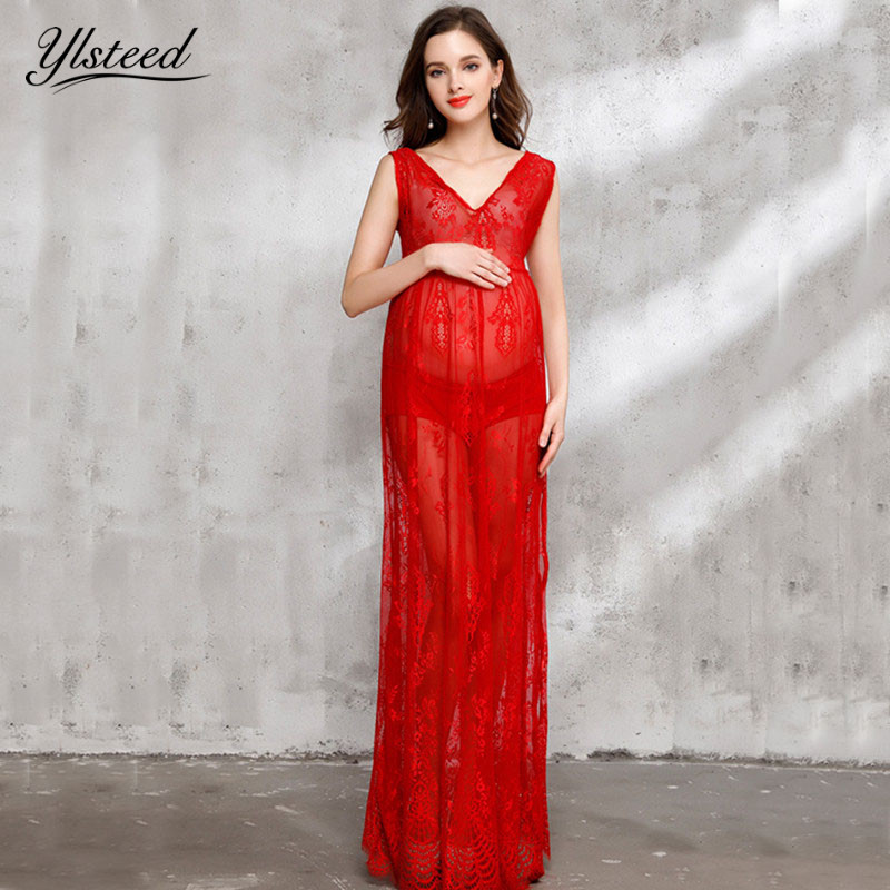 Sexy sheer pregnant women summer dresses red lace maternity dress for photo shooting maternity photography props free shipping 2016 summer new sexy women red lace bodycon bandage dress party bodycon dresses