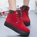 Zapatos Para Caminar Otoño Invierno del Ante de Las Mujeres Botas de nieve Botón de Encaje Metal con cordones Plataforma Knight Botines Gran Tamaño Talón Plano botines