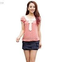 2016 Summer Style Casual Women Doll Collar Short Sleeve Tops Polka Dot Chiffon Shirt Blouse Pink