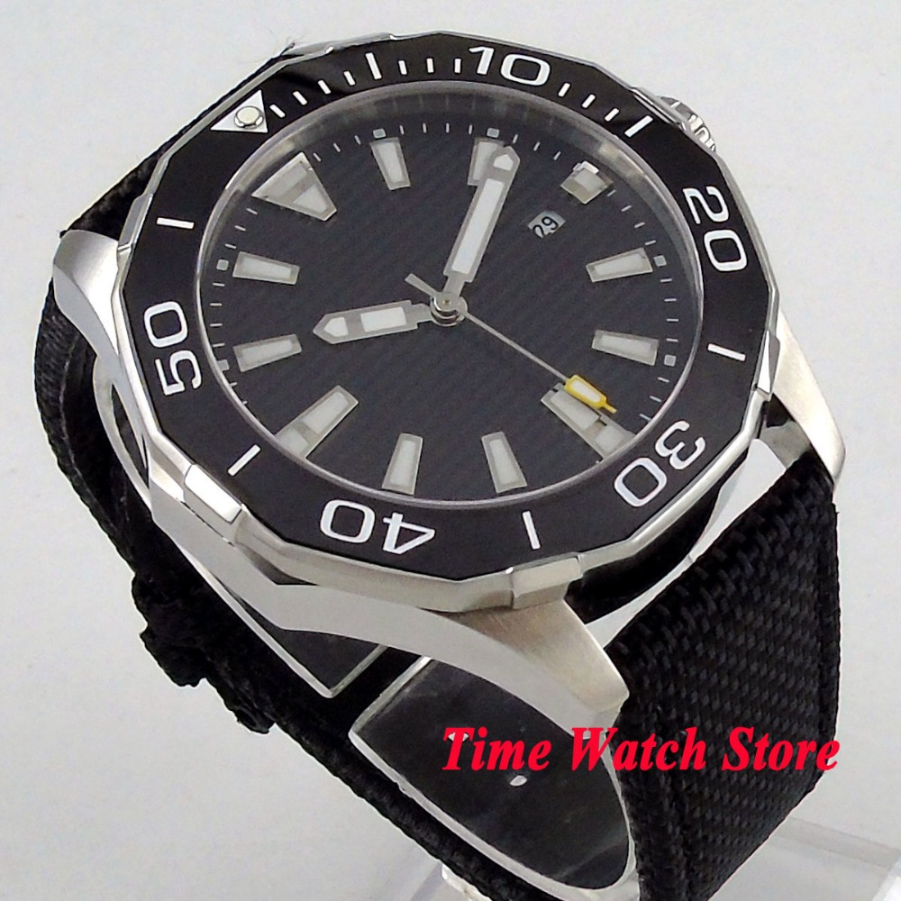 Solid 45mm Polygon men's watch no logo black dial sapphire ass luminous ceramic bezel 5ATM MIYOTA Automatic wrist watch PL2 цена