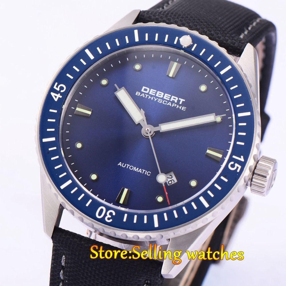 купить Debert 43mm blue dial luminous ceramic bezel sapphire glass MIYOTA 821A Automatic men's watch по цене 6728.85 рублей