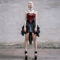 Steel Master punk female gothic slip dress cultivate one's morality personality stage party women dresses