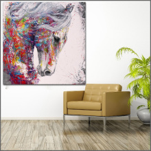Wall Art painting Modern Colorful Animal  Oil Painting On Canvas Vivid Color POP HORSE 1 No Frame WLONG
