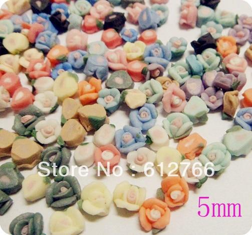 nail ceramic flowers  150pcs mix 15 colors 5mm
