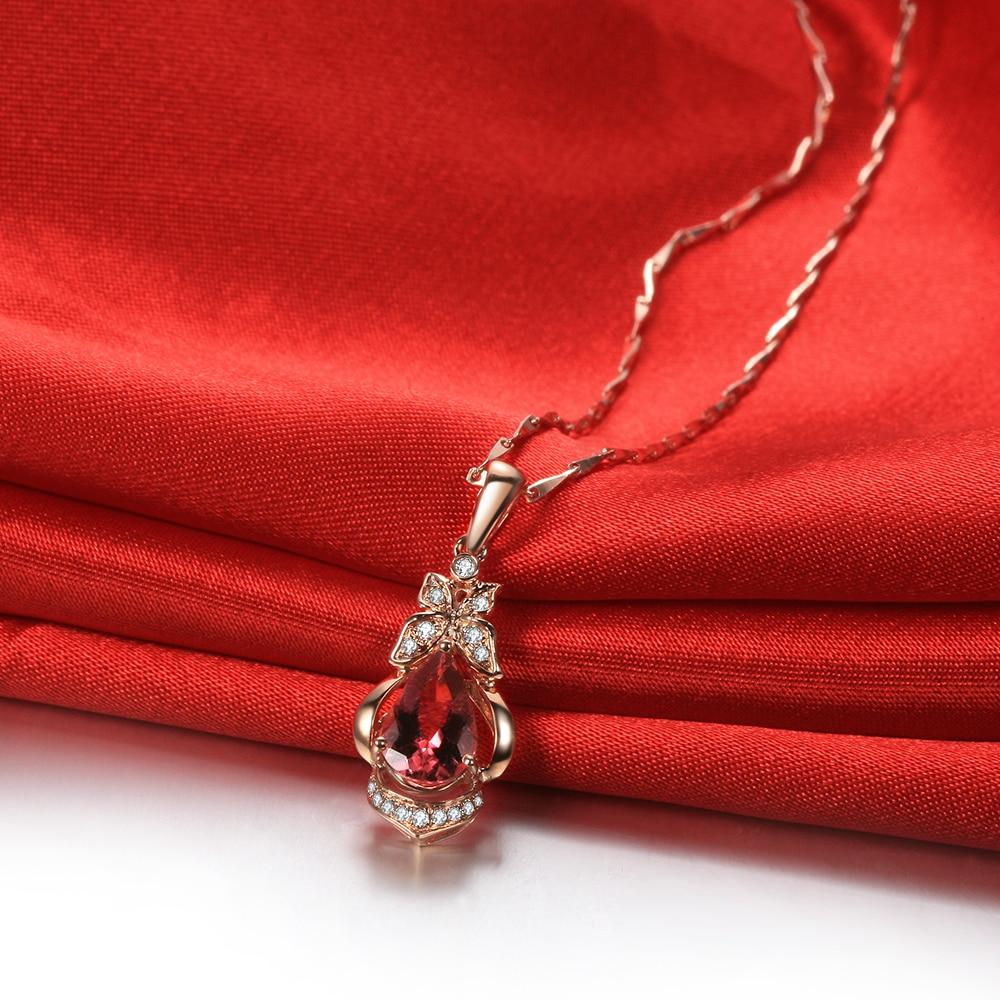 GVBORI 18 K розовое золотое ожерелье с подвеской ювелирные изделия День святого Валентина Кулон розовое золото турмалин