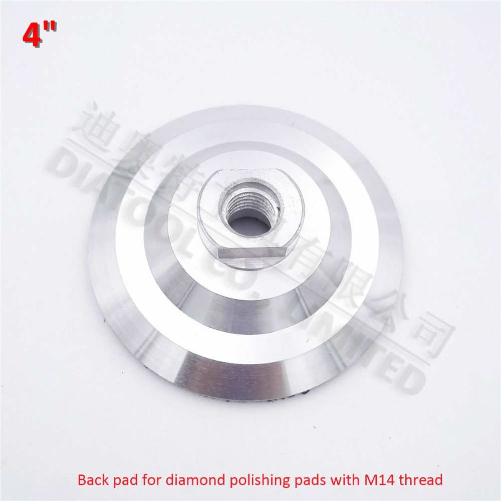 DIATOOL 4inch Aluminum base backer pads for polishing pads sanding discs abrasive disc  M14 Thread, 100mm back pad