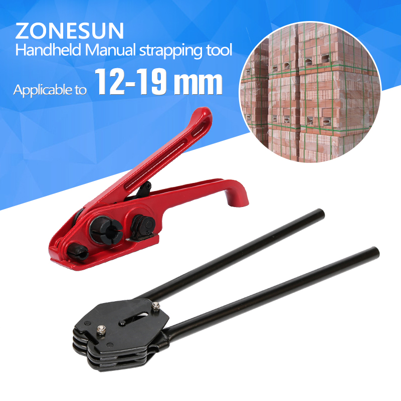 ZONESUN Manual strapping tool PP/PET 12mm 13mm 16mm 19mm strapping machine hand tool set strapping plier tensioner cut sealless stainless steel band strapping plier strapper gear type wrapper manual binding wrapping machine cable tie cutting tool
