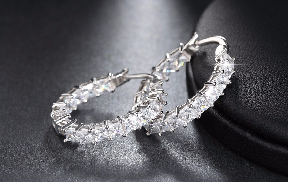 Effie Queen Big Round Hoop Female Earring Eternity Style with Shiny Zircon Bar Setting Luxury Earrings for Women Wholesale DE144 13