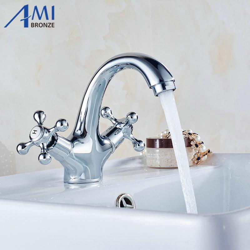 โครเมี่ยมก๊อกน้ำห้องน้ำก๊อกน้ำอ่างล้างหน้าคู่เปิดอ่างล้างจานอ่างผสมแตะ9019C