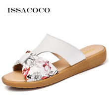 ISSACOCO Soft Bottom Large Size Leather Womens' Slippers Non-slip Comfortable Home Slippers Casual Beach Slippers EU Size 35-42 issacoco women s slippers home slippers couple beach slippers women cute rabbit slippers pantuflas terlik chinelos eu size 38 42