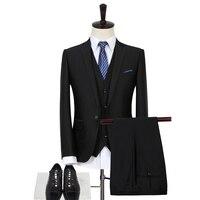 (Jacket + מכנסיים אפוד +) חליפת חתונה לגברים בליזר בסגנון ג 'נטלמן האופנה שמלת עסקי Mens ללבוש רשמי באיכות גבוהה חיים גנט