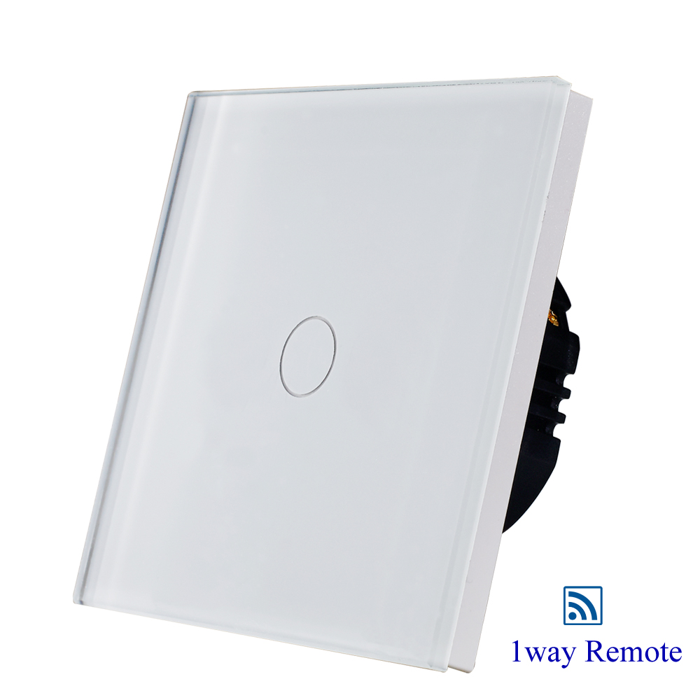 1gang 1way remote wall touch switch,white glass touch sensor switch EU/UK ,CE AC110-250V 1gang 1way touch switch with remote function 433 92mhz silver aluminum and black glass panel remote switch eu uk hot sale
