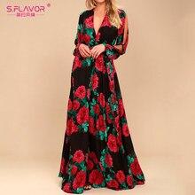 9eba8d72ac1213 S. FLAVOR kobiety długa sukienka boho gorąca sprzedaż rose drukowanie  dekolt w serek sexy vestidos de festa wiosna lato moda z d.
