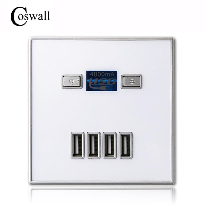 Coswall 2017 Chegada Nova Alta Qualidade 4-PORT carregador rápido casa o uso de tomada de parede Usb Tomada de Energia 86mm * 86mm 4000MA