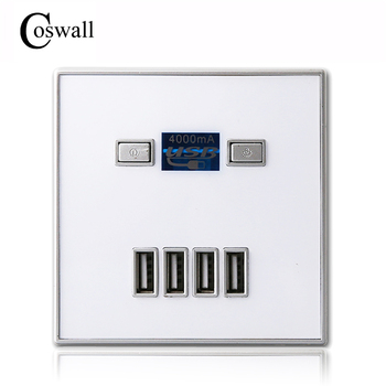 Coswall 2017 Neue Ankunft Hohe Qualität 4-PORT schnell ladegerät home use wand buchse Power Usb Steckdose 86mm * 86mm 4000MA