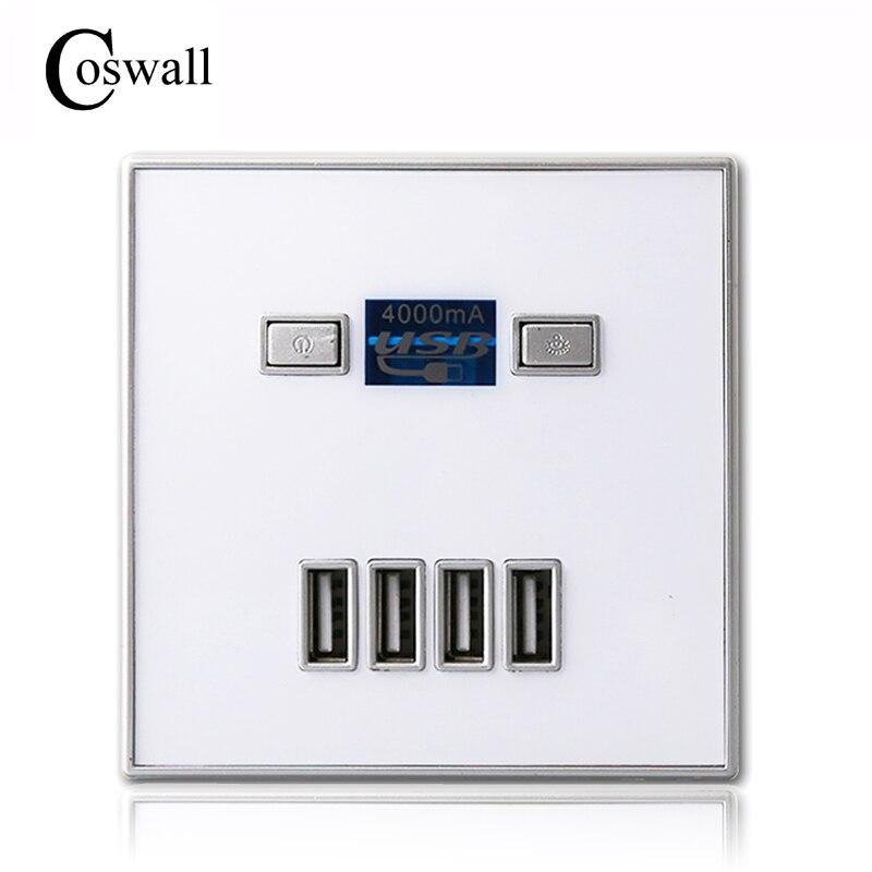 Coswall 2017 Nuovo Arrivo di Alta Qualità-PORT caricabatterie rapido casa uso della parete Alimentazione presa Usb Presa 86mm * 86mm 4000MA