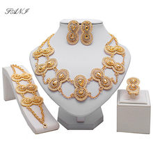 Fani Bridal Gift Nigerian Wedding woman accessories jewelry set African Beads Jewelry Set Fashion Dubai Gold Color Jewelry Set(China)