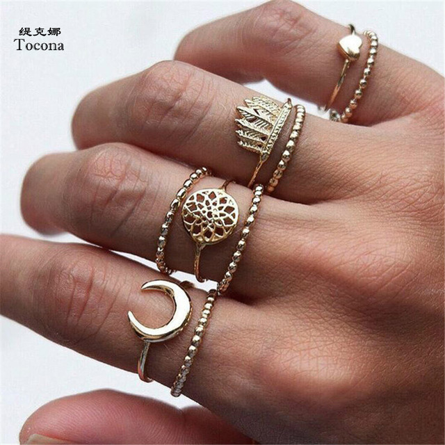 Tocona 9pcs/Set Bohemian Moon Heart Dreamcatcher Crown Midi Rings Set for Women