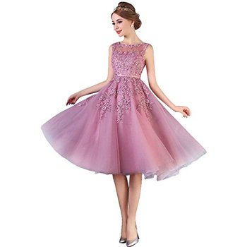 2017 Dust Pink Beaded Lace Appliques Short Prom Dresses Robe De Soiree Knee Length Party Evening Dress!