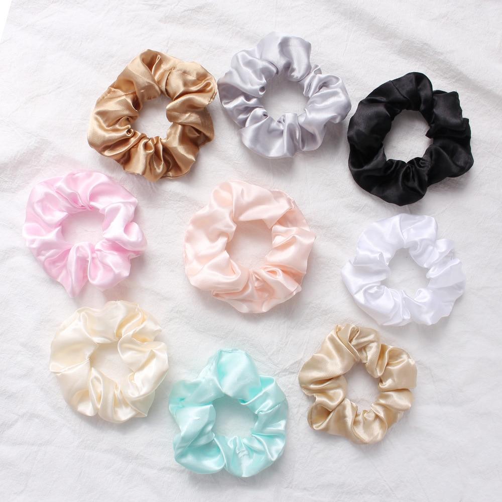 New Satin Hair Scrunchies Stretch Scrunchie Women Elastic Hair Bands Girls   Headwear   Solid Silky Donut Grip Loop Ponytail Holder