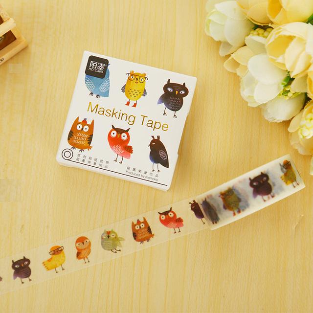 1.5 cm * 5 m Sr. Búho decoración scrapbooking masking tape washi tape DIY cinta adhesiva etiqueta engomada de papelería