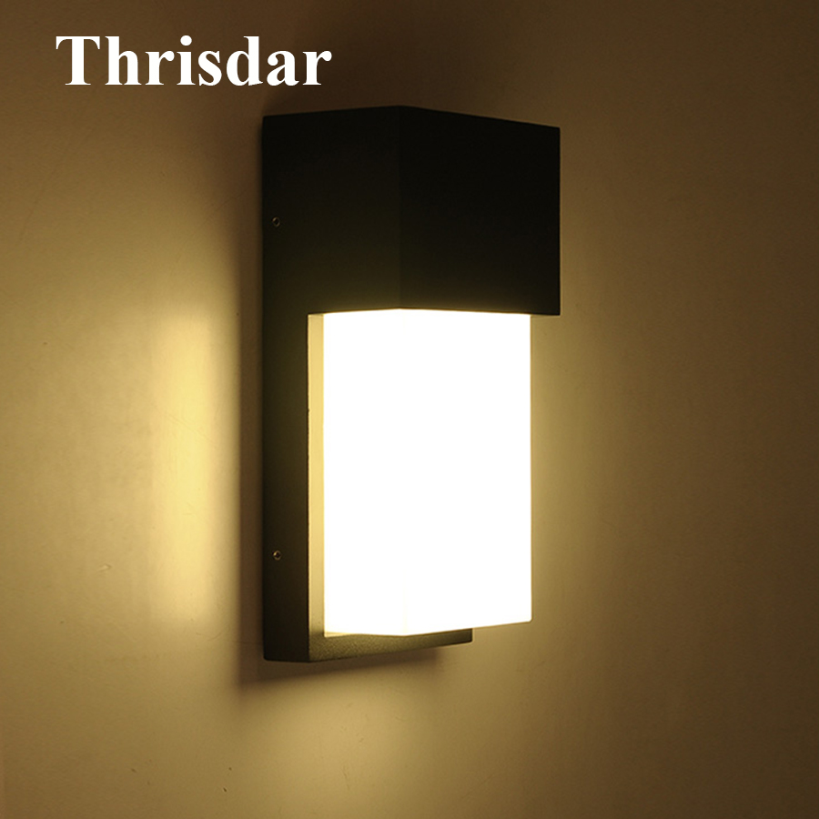 Thrisdar 10W Waterpoof Led Wall Lamp AC90-240V Outdoor Garden Porch Light IP54 Modern Villa Courtyard Gateway Aisle Wall Sconces modern villa porch light led wall light outdoor waterproof ip54 modern porch light led indoor outdoor wall lamps garden lamp