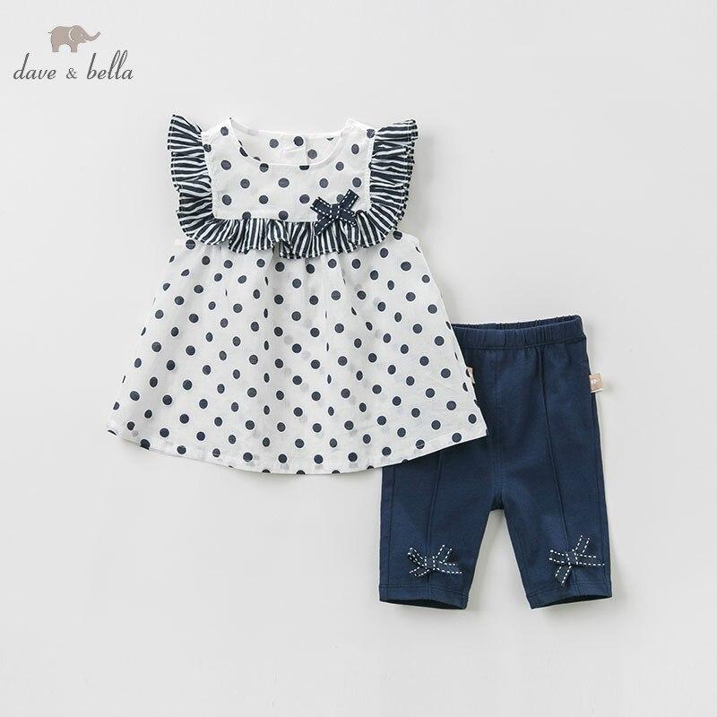 DBM10563 デイブベラ夏女の赤ちゃんファッション服女の子素敵なノースリーブはドット子供  グループ上の ママ & キッズ からの 服セット の中 1