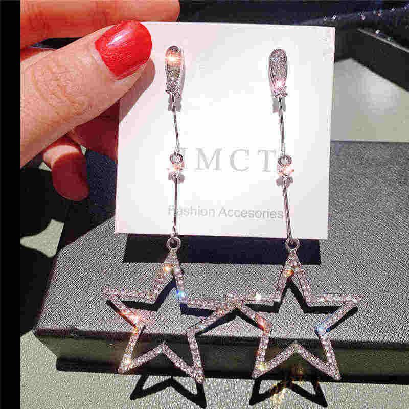 Gaya Korea Crystal Drop Anting-Anting untuk Wanita Delicated Bintang Geometris Menggantung Telinga Perhiasan Pesta Pernikahan Brincos Grosir