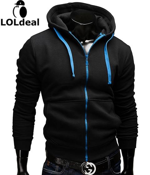 Black White Zipper Casual Slim Sweatshirt Men M 3XL Asia Size