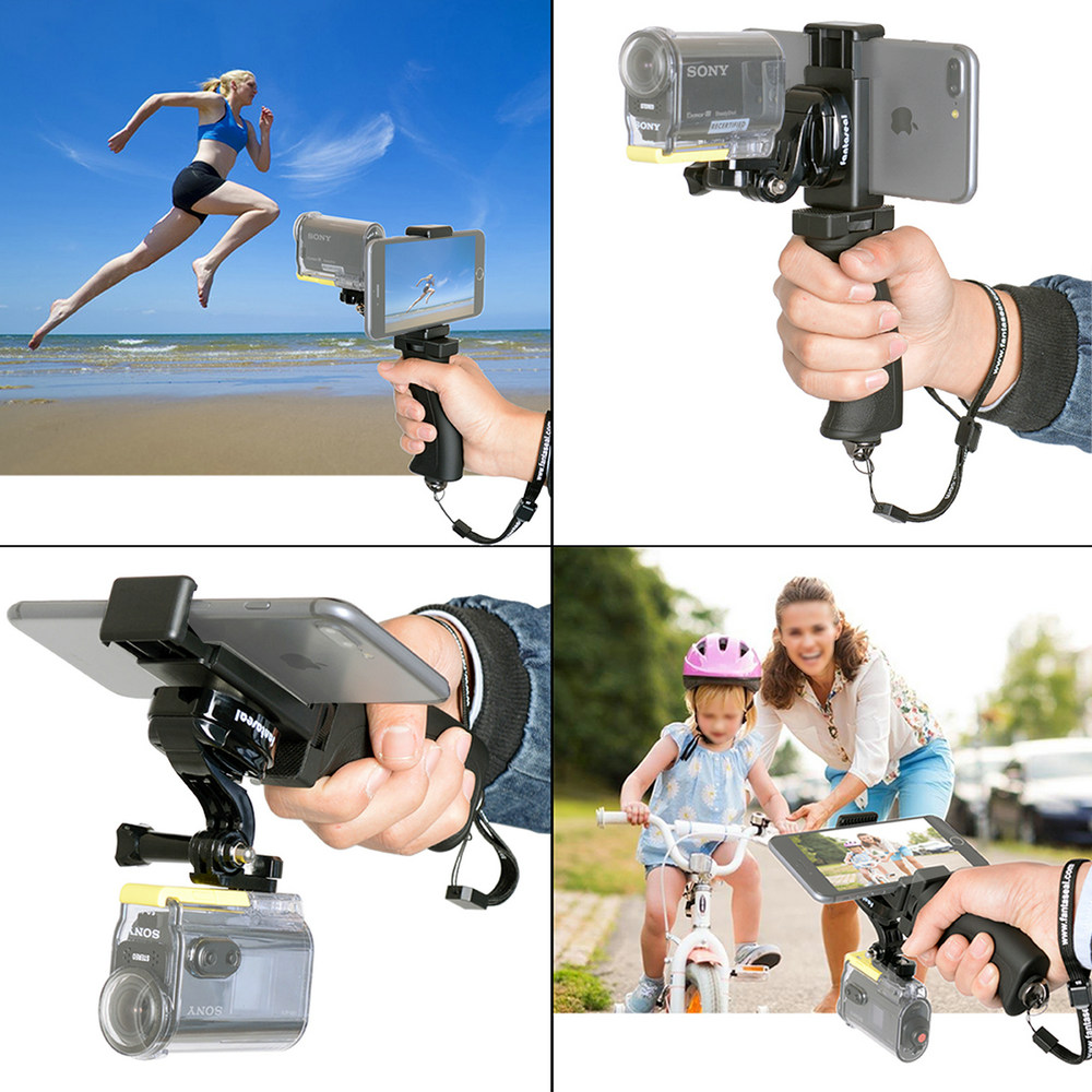 Image 3 - Fantaseal Action Camera Hand Grip Mount + Mobile Phone Clip for Sony AS200V AS300R FD X3000R SJCAM Gear 360 Stabilizer Holder-in Sports Camcorder Cases from Consumer Electronics
