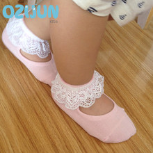 one pairs girls baby kids frilly lace cotton socks ruffled soft trim ankle anklet cute toddler lovely footwear lace ballet socks(China)