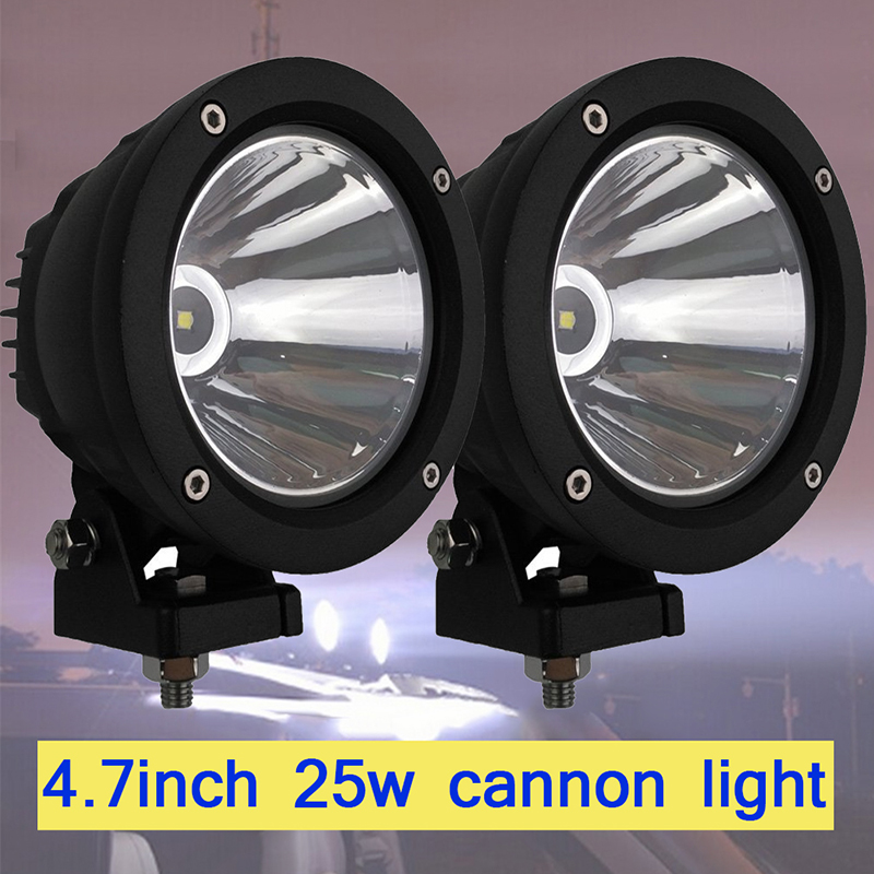 2x 25W 4.7inch Cannon Exterior LED Driving Light Black 25W 10 Degree COB Round Led Work Lights for Offroad SUV Off-road Tractor