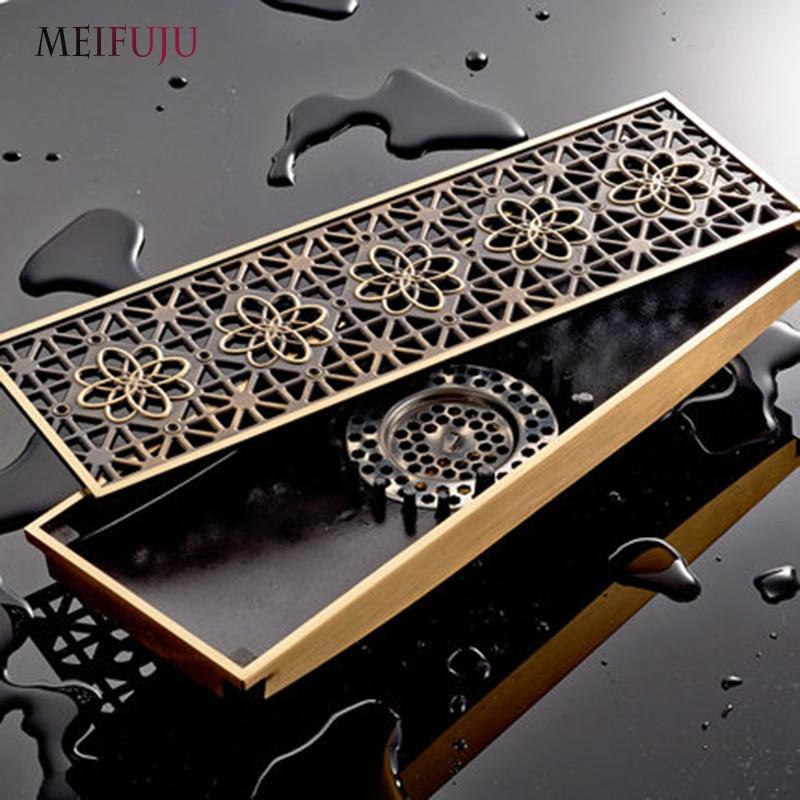 MEIFUJU Antique Brass Bathroom Floor Drains Linear Shower Drain Waste Floor Shower Wire Strainer Art Carved