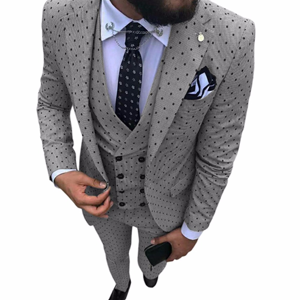 HTB1JA7kT5rpK1RjSZFhq6xSdXXan 2019 Men's Poika dot Suit 3 Pieces latest coat pant designs Notch Lapel Tuxedos Groomsmen For Wedding/party(Blazer+vest+Pants)