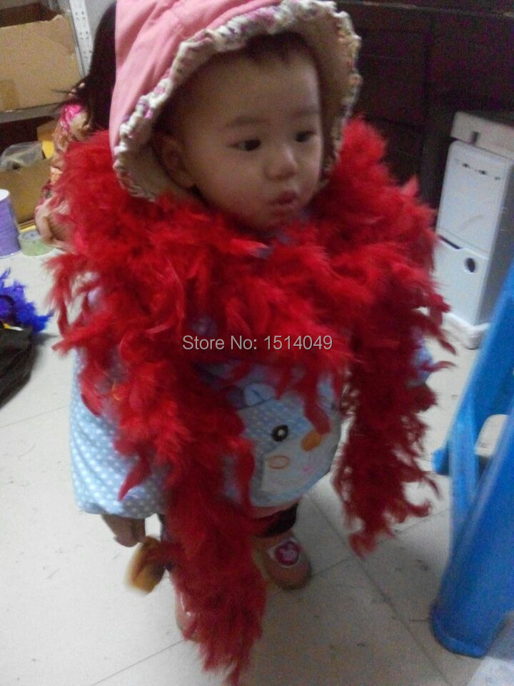 Free shipping wholesale 5pcs high quality Turkey feathers 2m long Feather boa Decorative red