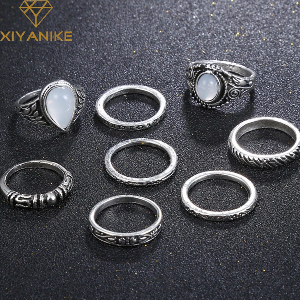XIYANIKE 2017 New Arrival Luxury Big Ring Vintage Stone Antique Rings For Women Round Oval Square Ring Sets Turkish Jewelry R3