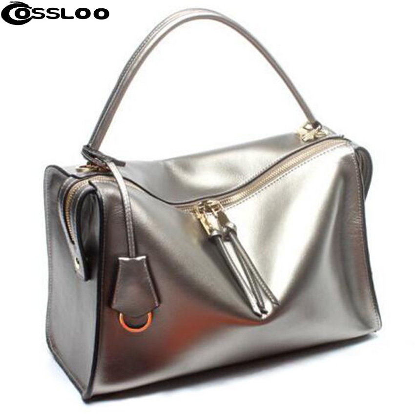 COSSLOO Women bag luxury handbag genuine leather bag famous designer brand women leather handbags high quality messenger bag цена