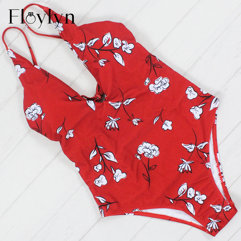Floylyn <font><b>2017</b></font> <font><b>Sexy</b></font> <font><b>One</b></font> <font><b>Piece</b></font> <font><b>Swimsuit</b></font> <font><b>Women</b></font> <font><b>Swimwear</b></font> <font><b>Print</b></font> Bodysuit Bandage Cut Out Beach Wear Bathing Suit Monokini <font><b>Swimsuit</b></font> image