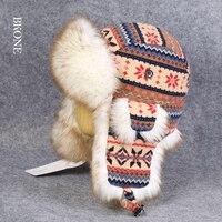 الرجال المرأة فو الأرنب الفراء الصياد قبعات صوف محبوك قبعات الشتاء للتزلج الثلج القبعات منفذها قبعات طيار الرياضة في الهواء