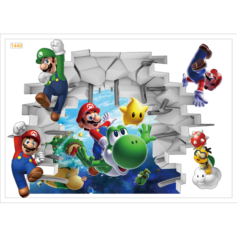 Wall Stickers pvc 3d cartoon Super Mario Bros Boy Room Kids Art Decal Mural Kids Nursery Decals bedroom Home Decor